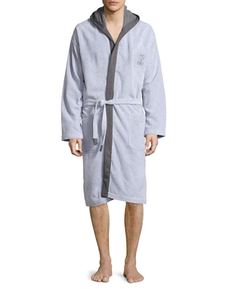 Brunello Cucinelli Terry Cloth Cotton Spa Robe, Gray