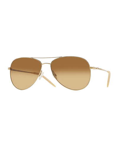 Kannon 59 Chrome Amber Photochromic Sunglasses, Golden