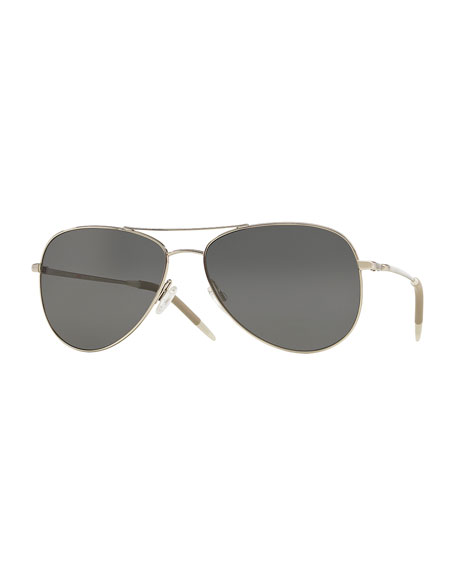 Oliver Peoples Kannon 59 Polarized Sunglasses, Silver