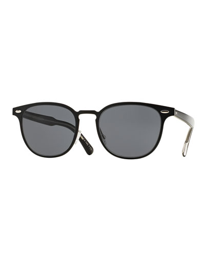 Sheldrake 54 Metal Sunglasses, Black