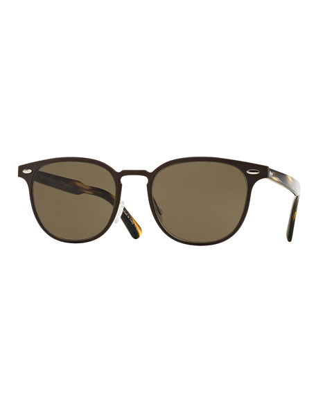 Oliver Peoples Sheldrake 54 Metal Sunglasses, Brown