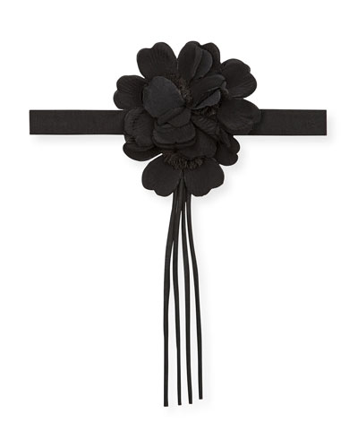 Black Silk Flower Neck Bow, Black