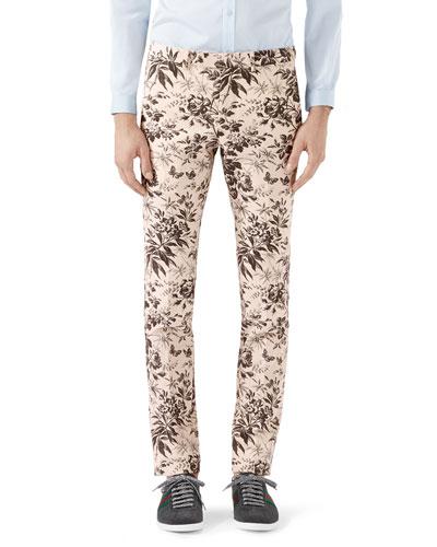 Herbarium-Print Cotton Pants, Black