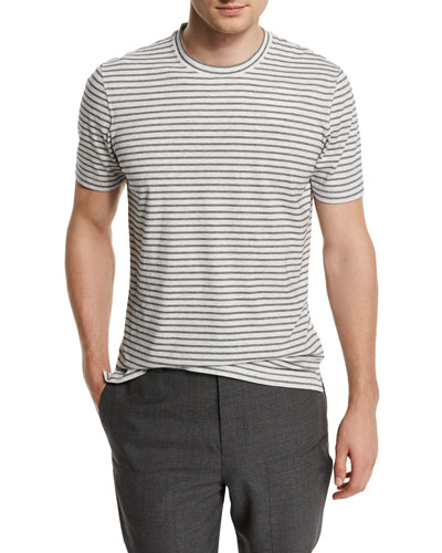 Striped Short-Sleeve Knit T-Shirt, Fog/Navy