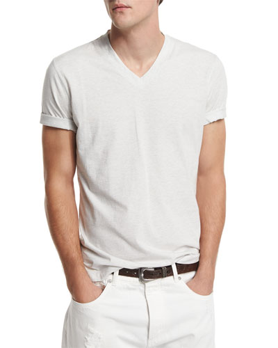 V-Neck Short-Sleeve Tee, Alabaster