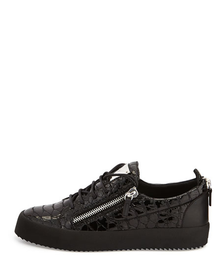 Men's Patent Low-Top Sneaker, Black