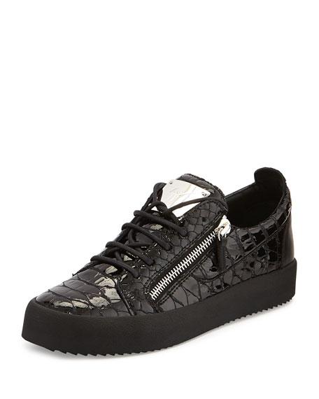 Men's Patent Low-Top Sneaker, Black