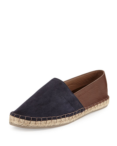 Men's Suede/Leather Two-Tone Espadrille Flat, Navy/Brown