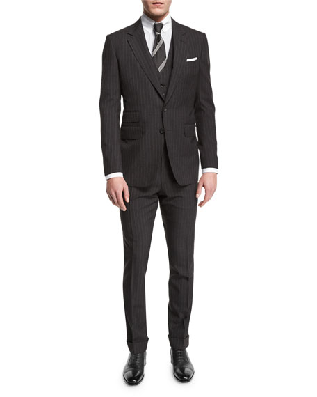 Buckley Base Pinstripe Three-Piece Wool Suit, Charcoal