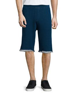 Relaxed-Leg Sweat Shorts, Indigo