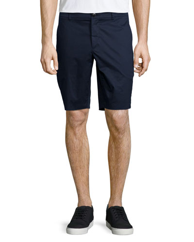 Straight-Leg Poplin Shorts, Midnight