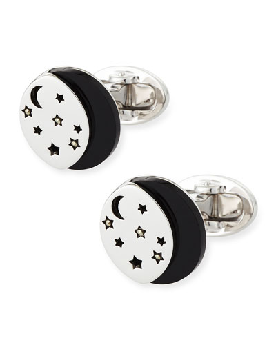 Starry Night Sterling Silver & Onyx Cuff Links, 0.4