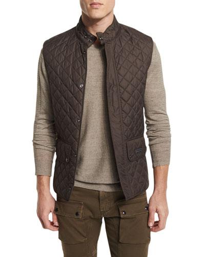 Quilted Snap-Front Waistcoat, Mahogany