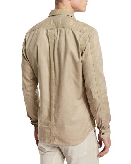 Sinclair Taped-Trim Sport Shirt, Pale Stone