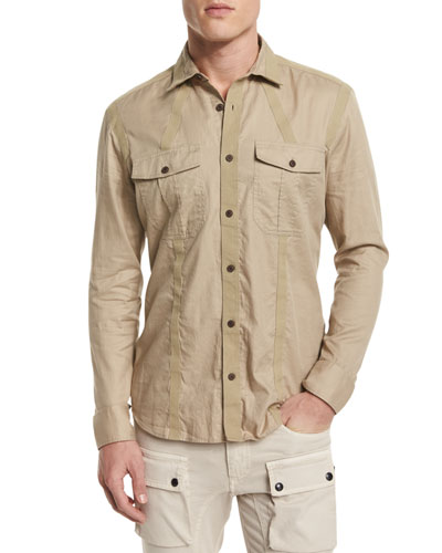 Sinclair Taped-Trim Sport Shirt, Pale Stone