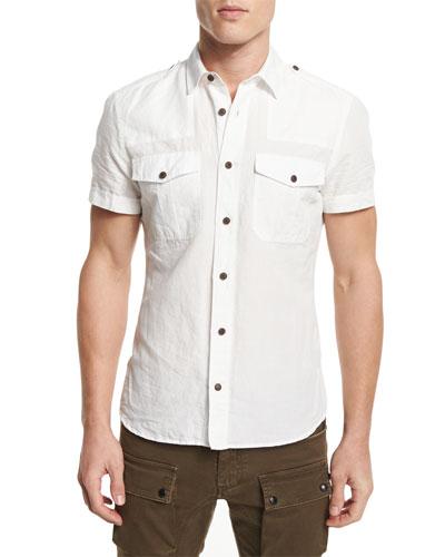 Simon Short-Sleeve Linen-Blend Shirt, Natural White