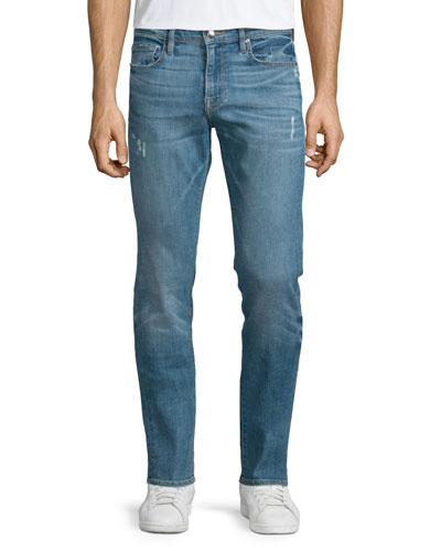 L'Homme Russell Distressed Washed Denim Jeans, Cave