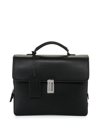 Saffiano Leather Single-Gusset Briefcase, Black