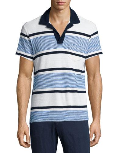 Terry Towel Striped Short-Sleeve Polo Shirt