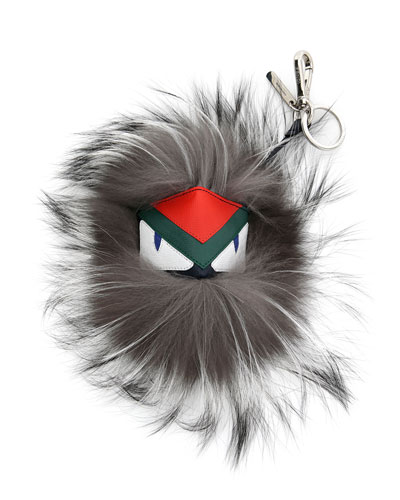 Fur Monster Charm For Bag, Blue/Gray