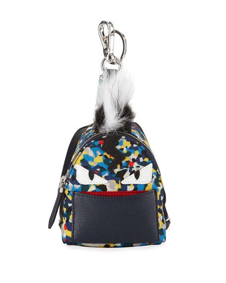 Fendi Confetti-Print Backpack-Shaped Charm for Bag/Briefcase
