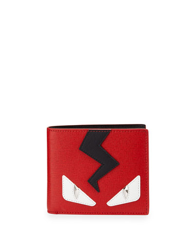 Monster Face Leather Wallet, Red