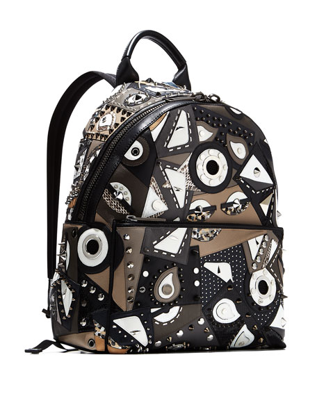 37ceda1d4d44 Fendi Runway Studded Monster Eye Printed Backpack