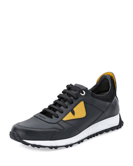 Fendi Monster Runner Spike-Back Leather Sneaker