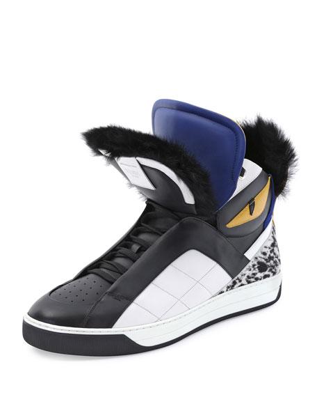 Monster Fur-Trimmed High-Top Sneaker