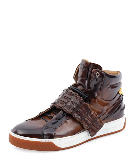 Croc-Strap Wimbeldon High-Top Sneaker, Brown