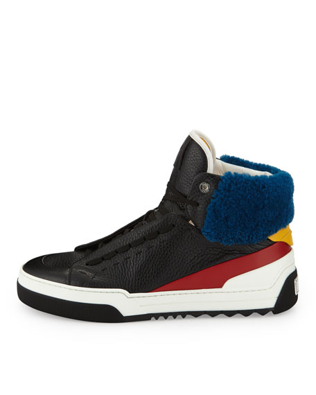 Men's Leather High-Top Sneakers with Sheep Fur, Black/Red/Blue