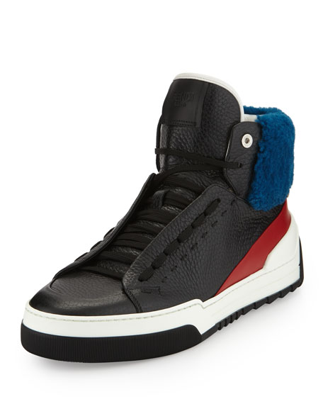 88e08bd084 Men's Leather High-Top Sneakers with Sheep Fur Black/Red/Blue