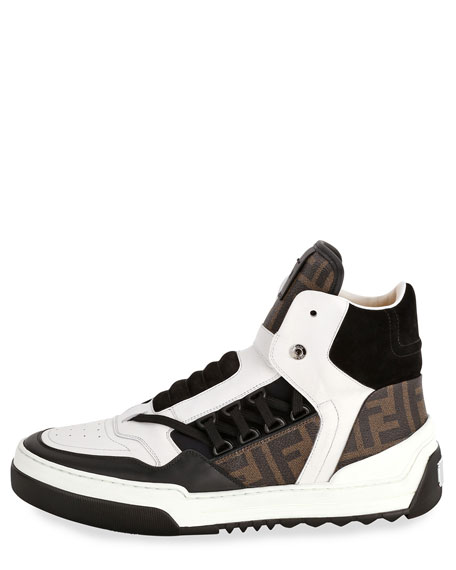 Tank Zucca-Print Leather High-Top Sneaker, White/Blue/Brown