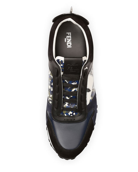 Granite Runner Spike-Back Leather Sneaker, Blue/Multi