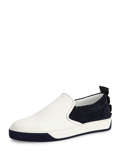 Crocodile-Back Leather Slip-On Sneaker, White/Blue