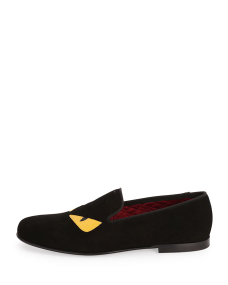 Monster Eyes Suede Evening Slipper, Black