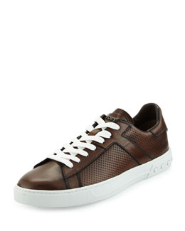 Perforated Leather Low-Top Sport Sneaker, Cacao