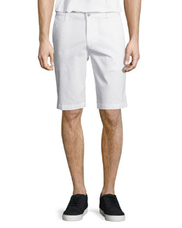 Griffin Flat-Front Shorts, White