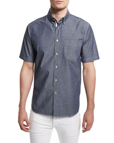 Standard Issue Woven Short-Sleeve Shirt, Indigo