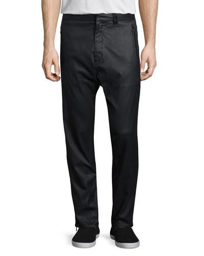 Zander Coated Stretch-Knit Track Pants, Black