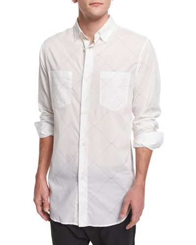 Printed Long-Sleeve Sport Shirt, White