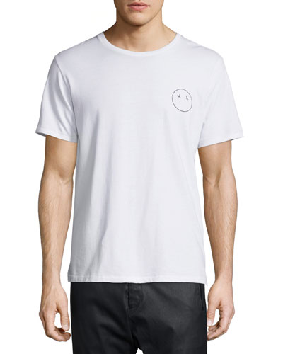 Face-Embroidered Short-Sleeve Jersey Tee, Bright White