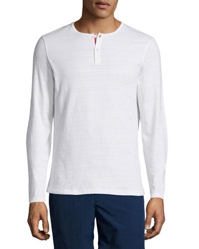 Long-Sleeve Henley Shirt, White