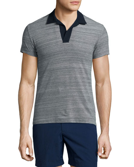 Orlebar Brown Felix Johnny-Collar Melange Polo Shirt, Navy