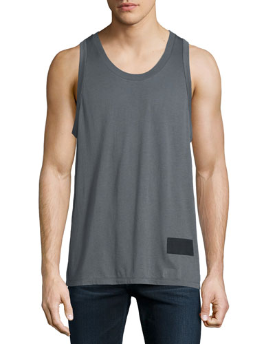 Sleeveless Scoop-Neck Tank, Slate