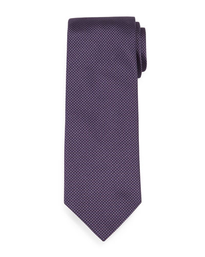 Textured Dot-Print Silk Tie