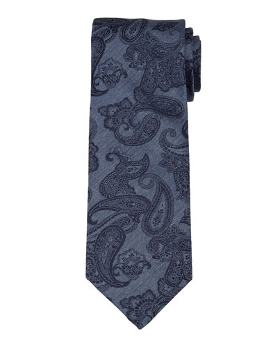 Paisley-Print Chambray Silk Tie, Blue