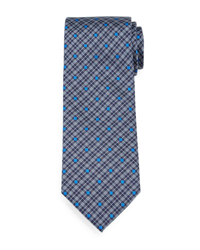 Plaid & Square-Print Silk Tie, Royal