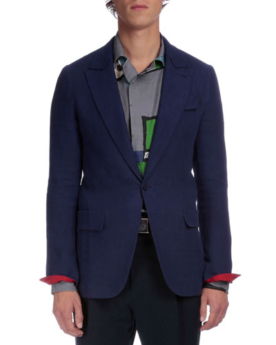 Contrast-Cuff Two-Button Jacket, Blue