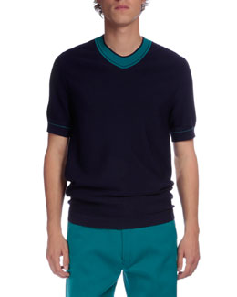 Contrast-Collar Short-Sleeve Sweater, Blue
